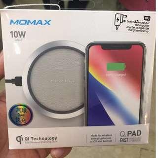 MOMAX Q.Pad 無線快速充電器Qi(UD3) 黑或銀白色 iPhone X,8,S8,Note 8 (2年保養)