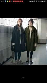 #墨綠 新款韓版中长長款毛呢外套女冬季韓國冬装學生型加厚呢子大衣