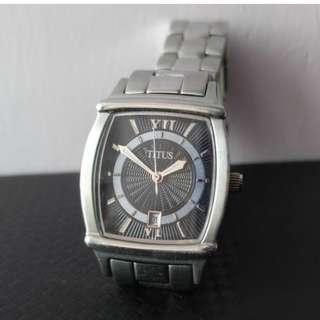 Titus 鐵達時 06-1197 日曆女裝鋼錶 black dial watch