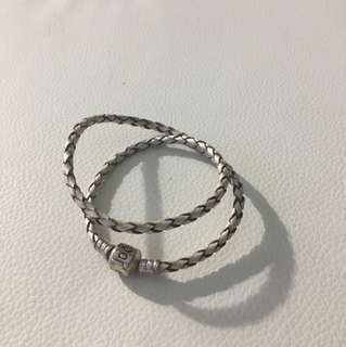 Pandora White Braided Double-Leather