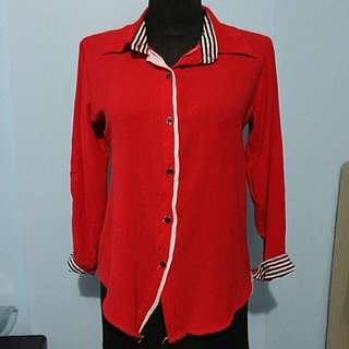 Red Long Sleeves Polo