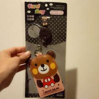 Bear Card Holder With Retractable Strap