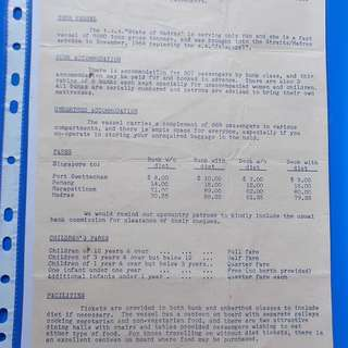 State of Madras, STRAITS Shipping Service Fare Brouchere SINGAPORE 1954 - ad04