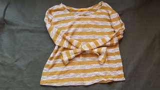Mint mustard white striped top