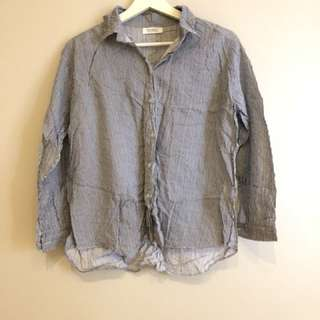White & Navy Pinstripe Linen Shirt