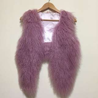 🚚 九成五新 山羊毛 灘羊毛 紫羅蘭色貴氣背心