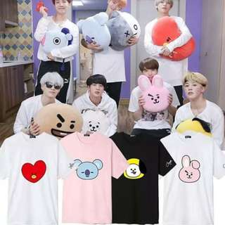 Preorder -BTS BT21 TSHIRT SIZE--S-3XL COLOUR-BLACK/WHITE/PINK (exc.pos)