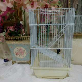 Bird cage white with tray and drink jar
