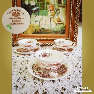 """Rare Vintage Johnson Bros England Pat No. 18580, """"Castle on The Lake"""" Motif Ceramic Cup+Saucer. Good Condition, just has manufacturing firing dots & one cup has unobvious chip at the edge. 1 set for $25 or all 3 sets for $50 offer, sms 96337309."""
