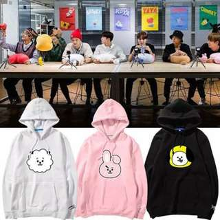 Preorder - BTS BT21 HOODIE (SIZE -S-3XL COLOUR-PINK/WHITE/BLACK *ALL MEMBER AVAILABLE*) exc.pos