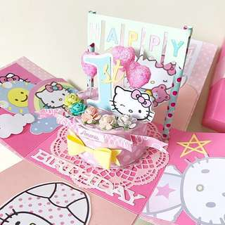Happy 1st Birthday Hello kitty Explosion Box Card