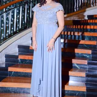 Plus Size Gray Gown For Rent