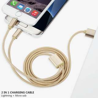 Mypro Nylon Braided 2 in 1 Charge cable Lightning+Micro USB