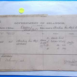 FEDERATED MALAY STATES 1896 Selangor Register of Holdings Document - ad13