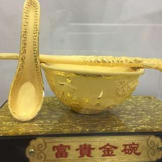 Golden Rice Bowl Set Goldplated Figurine 999镀金富贵黄金饭碗