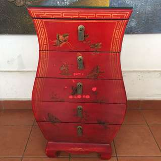 HOUR GLASS ORIENTAL SIDE TABLE in RED LACQUER -Free Delivery!