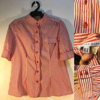 Zara 紅色直條襯衫