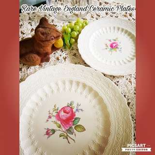 "Rare Vintage ""SPODE's JEWEL, Spode's BILLINGSLEY ROSE 2/8867"", 7"" dia ($35) & 11"" ($48) Ceramic Plate Platter. So pretty with Pink Roses in the middle and intricate Raised Pattern all around it. Unused, Good Condition. Both for $48 offer, sms 96337309."