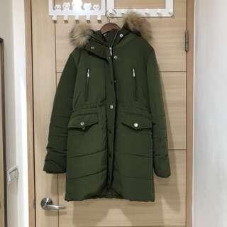 二手韓貨 超保暖軍綠色可縮腰長版連帽外套