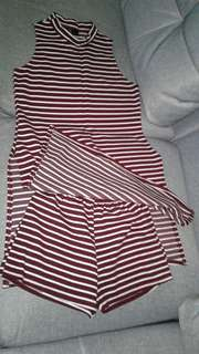 Red stripes terno