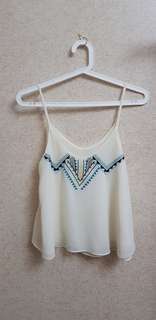 White Aztec print blouse