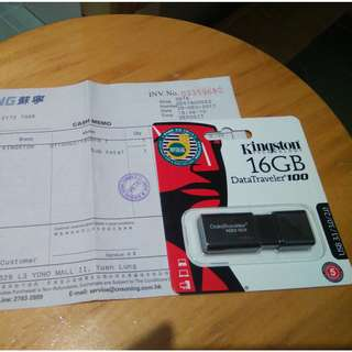 100%全新原封USB手指Kingston DataTraveler 100 G3 (DT100G3) 16GB (附香港蘇寧正本發票)