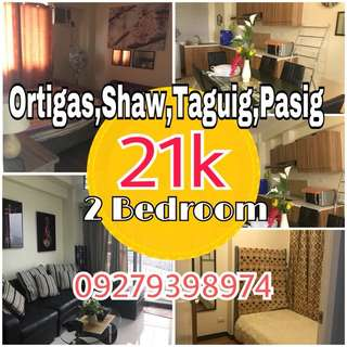 2 bedroom Preselling 21k permonth Ortigas,Shaw Blvd,Taguig,Bagong Ilog Pasig