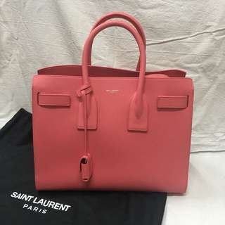 YSL Saint Laurent Small 32cm Sac De Jour in Soft Pink Grained Leather