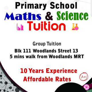 Primary Maths & Science tuition @ Woodlands