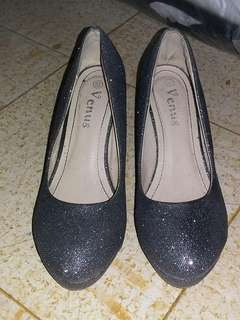 Silver wedge pumps
