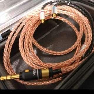 Shure westone fender 專用線 7N冷涷單晶銅合金線 8絞(銅合金版)新款mini 24k 鍍金3.5頭mmcx插針 耳機升級線 shure westone fender ue900s