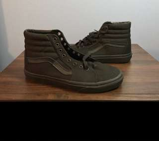Black on black sk8 hi vans