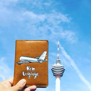 Hand painted airplane passport holder on leather