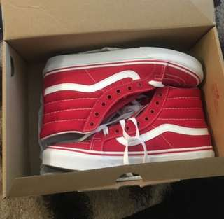 Red and white sk8 hi vans