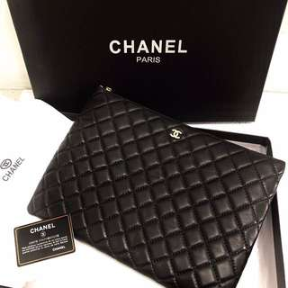 clutch bag chanel full leather