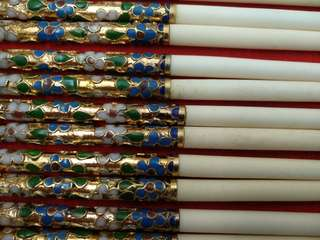 九十年代景泰藍牛骨紅木筷子