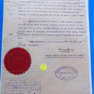 Straits Settlements 1935 JOHORE Notary Certificate Malaya - ad31