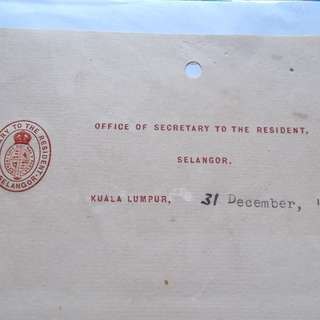 Straits Settlements 1929 Letter from OFFICE OF SECRETARY TO THE RESIDENT - ad32