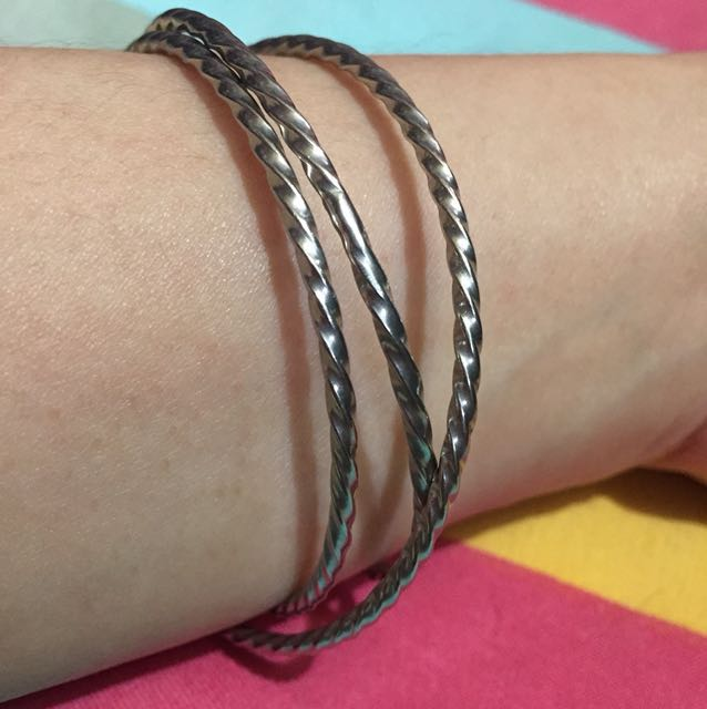 3-bangles pure stainless (linked) bracelet 3pcs