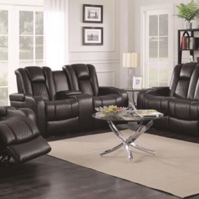 3pcs Black Padded Breathable Leatherette Motion Recliner Sofa Set