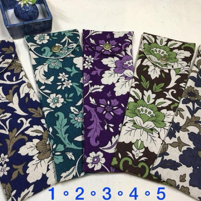 精選日本棉麻布製作環保筷組餐具袋筆袋彩妝工具袋7*20公分