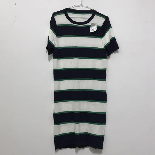 長版針織條紋衣