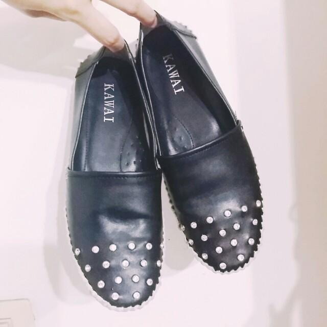 水鑽百搭黑懶人便鞋