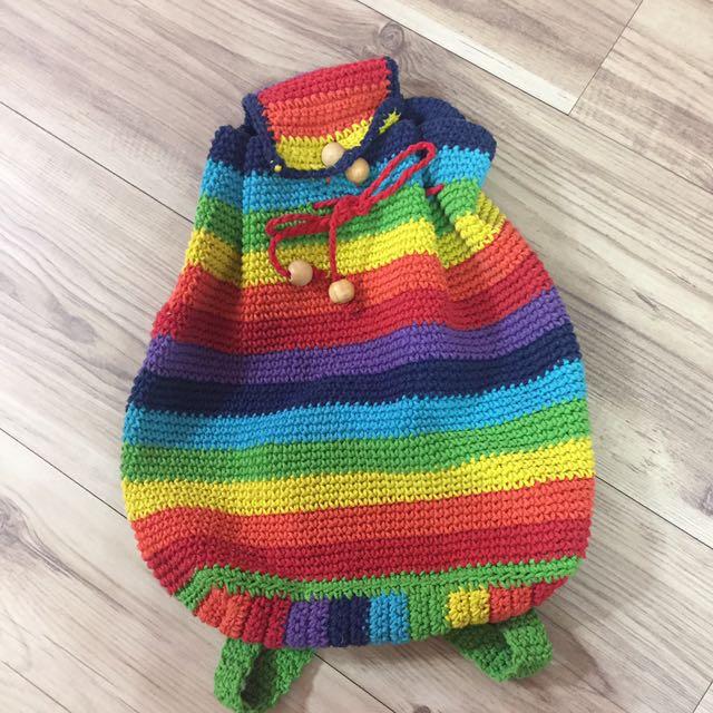 古著🍄彩虹針織後背包