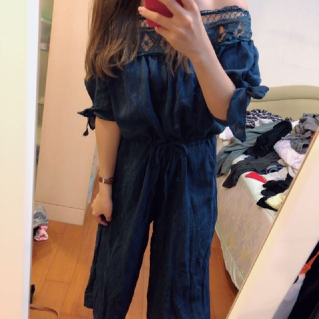 藍色平口蕾絲連身褲