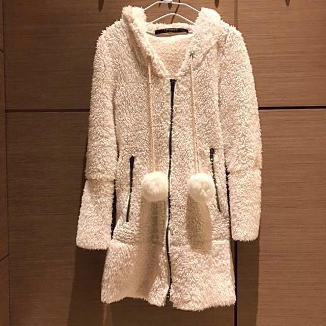 全新💯白色毛毛外套洋裝‼️免運‼️