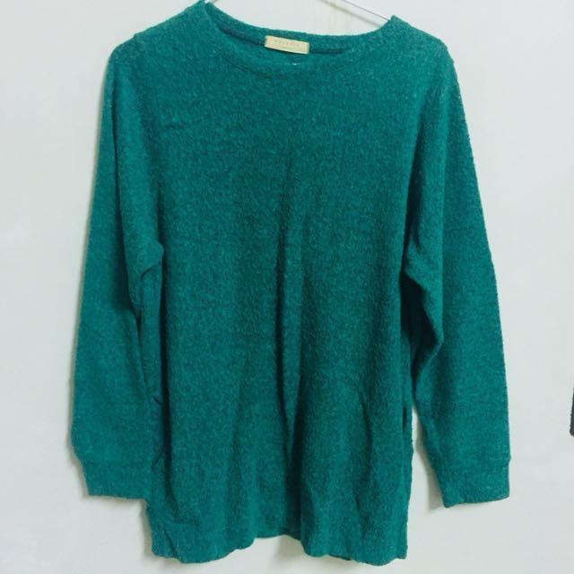綠色毛衣洋裝