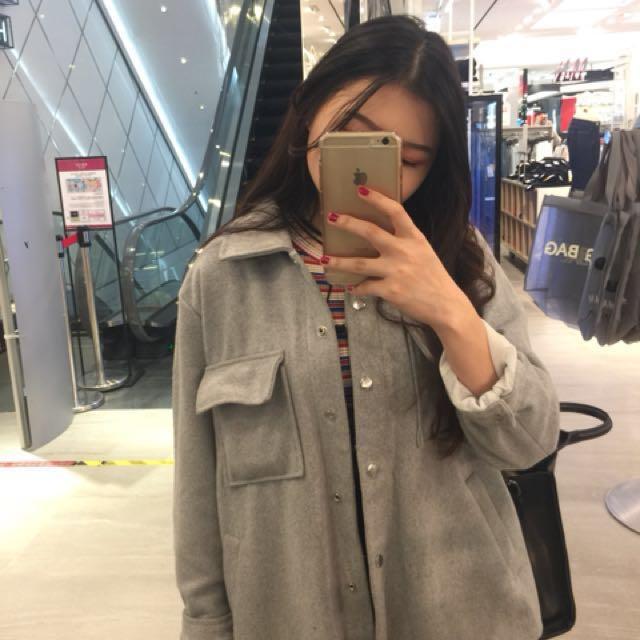 淺灰毛呢夾克襯衫外套
