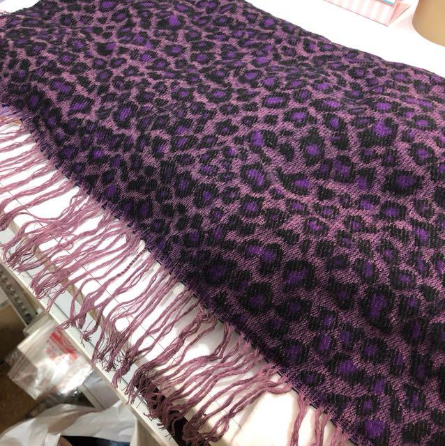 超長超大豹紋圍巾紫色