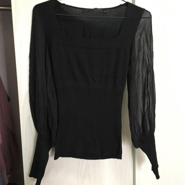 歐洲黑色冷衫半透薄紗上衣